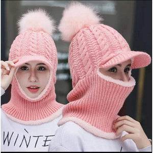 Womens Girls Knit Beanie Scarf Mask Set
