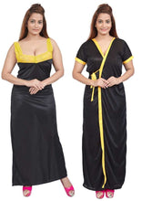 Load image into Gallery viewer, Women Nighty with Robe (Black & Yellow)
