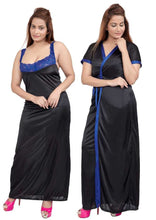 Load image into Gallery viewer, Women Nighty with Robe (Black & Blue)