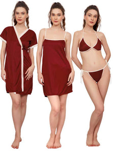 Women Nighty with Robe (Maroon)