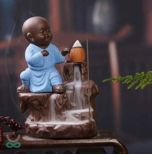 Smokey Fog Fountain Blue Monk Buddha