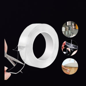 Double Sided Nano Adhesive Tape,Washable Traceless Nano Gel Tape,Stick to Glass