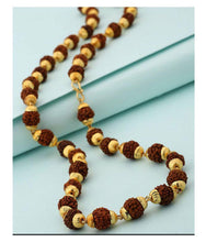Load image into Gallery viewer, Gold Plated Rudraksh Mala Chain