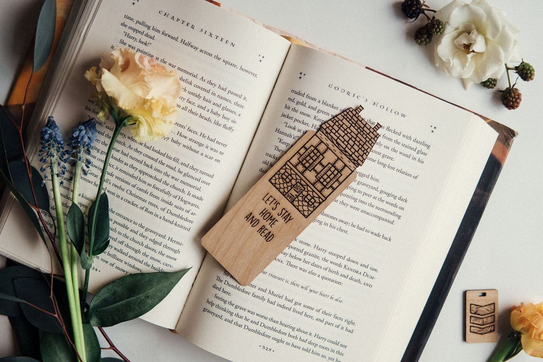 Let's Stay Home and Read Wide Wooden Bookmark