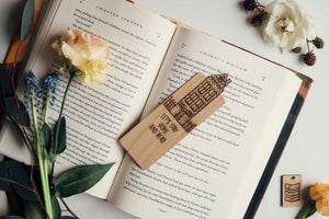 Let's Stay Home And Read Narrow Wooden Bookmark