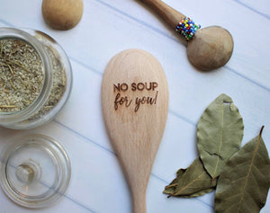 hand engraved wooden cooking spoon