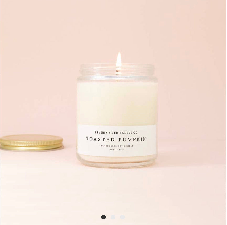 Beverly & 3rd Candle Co Toasted Pumpkin 9 oz Soy Candle