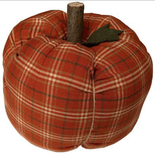 Load image into Gallery viewer, Orange Plaid Stuffed Pumpkin