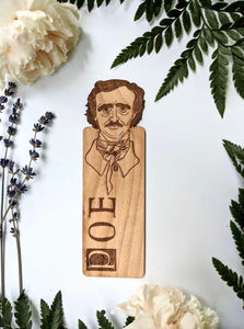 Poe hand engraved wooden bookmark