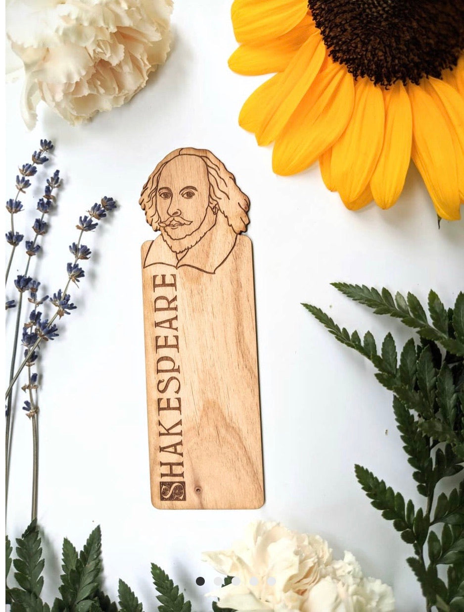 shakespeare hand engraved wooden bookmark