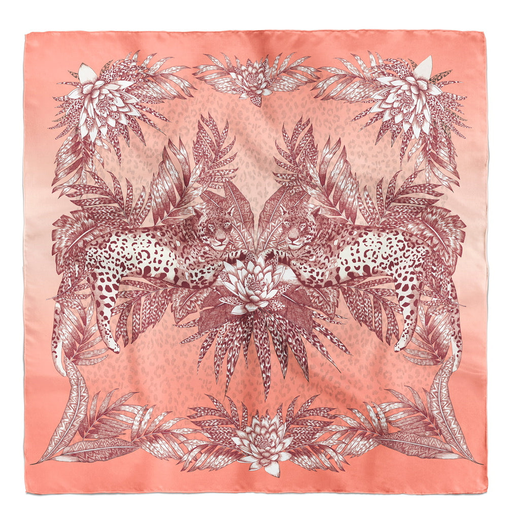 Leopard Duo | Rose Gold Silk Scarf