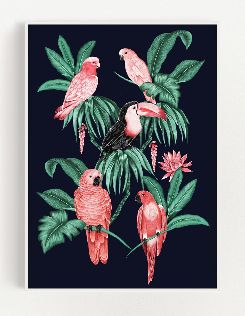 Tropical Toucan Print (Black)