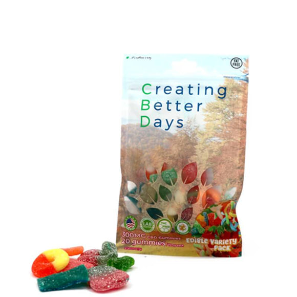 Creating Better Days - CBD Edible - Variety Pack Gummies - 20pc-15mg - Natural Releaf CBD