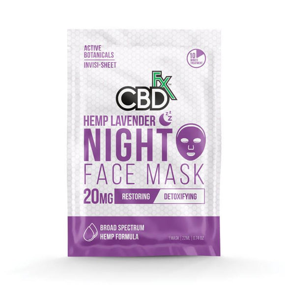 CBDfx - CBD Face Mask - Lavender Night Mask - 20mg - Natural Releaf CBD