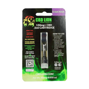 CBD Lion - CBD Cartridge - Grape Kush - 150mg - Natural Releaf CBD