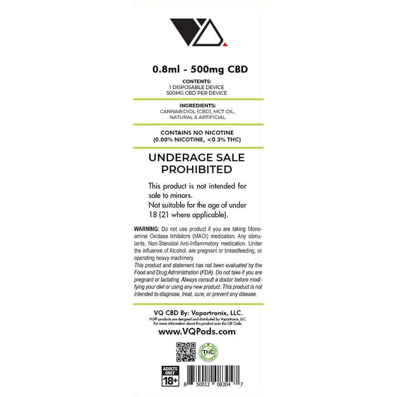 VQ CBD - CBD Disposable Vape Pen - Key Lime - 300mg-500mg - Natural Releaf CBD