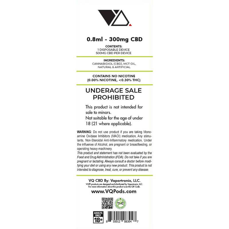 VQ CBD - CBD Disposable Vape Pen - French Vaniila - 300mg-500mg