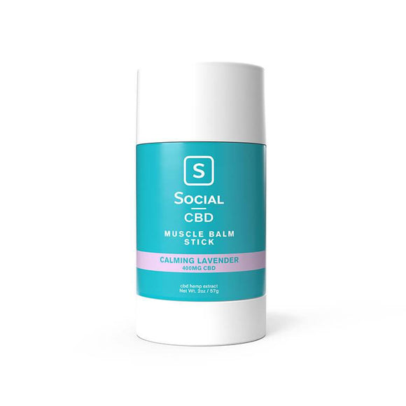 Social - CBD Topical - Calming Lavender Muscle Balm Stick - 400mg - Natural Releaf CBD