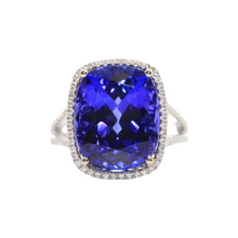 Load image into Gallery viewer, 18K White Gold Cushion Tanzanite and Diamond Halo Ring