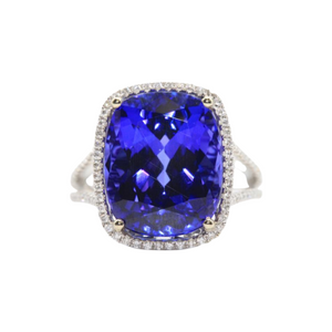 18K White Gold Cushion Tanzanite and Diamond Halo Ring