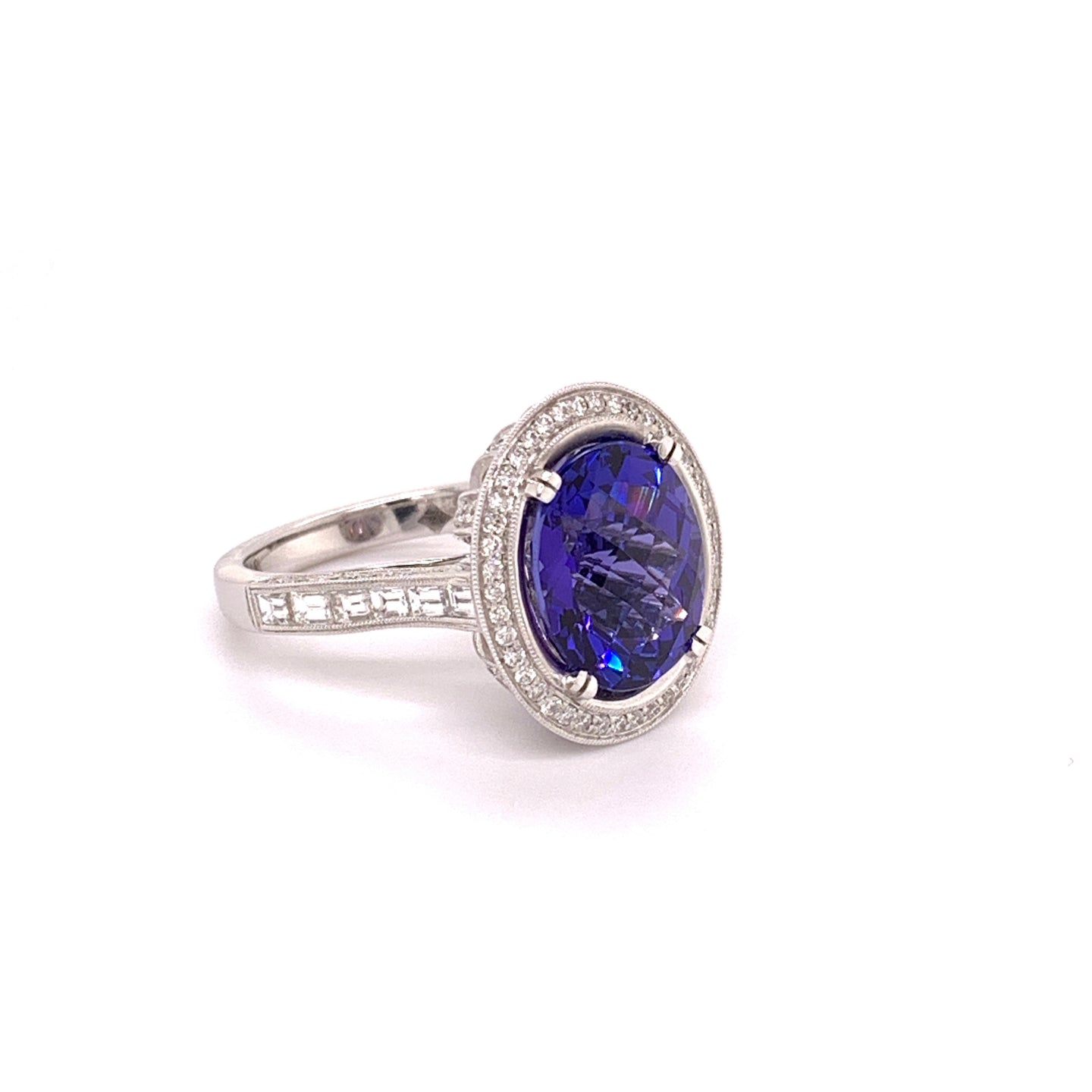 18K White Gold Tanzanite & Diamond Halo Ring