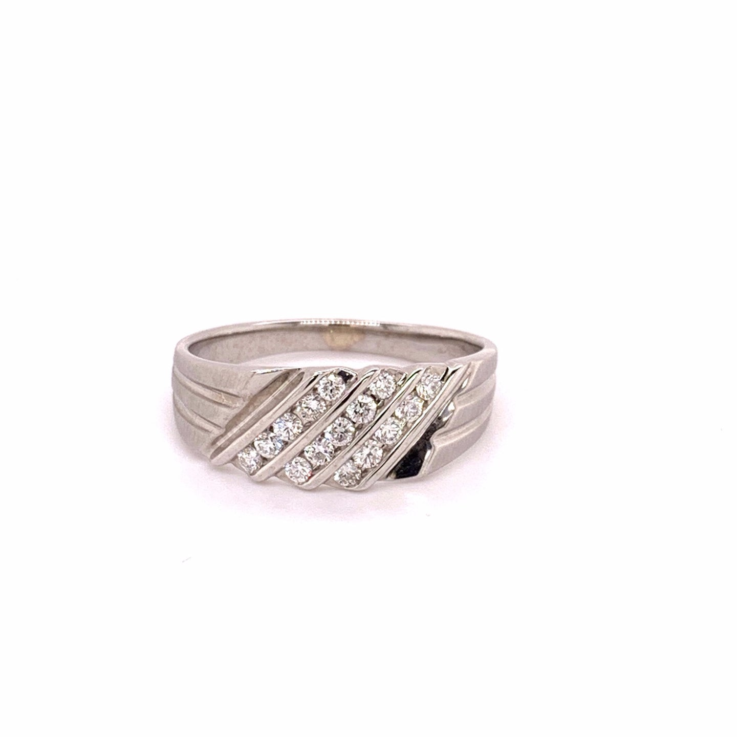 14K White Gold Diamond Ring with Brushed Finish