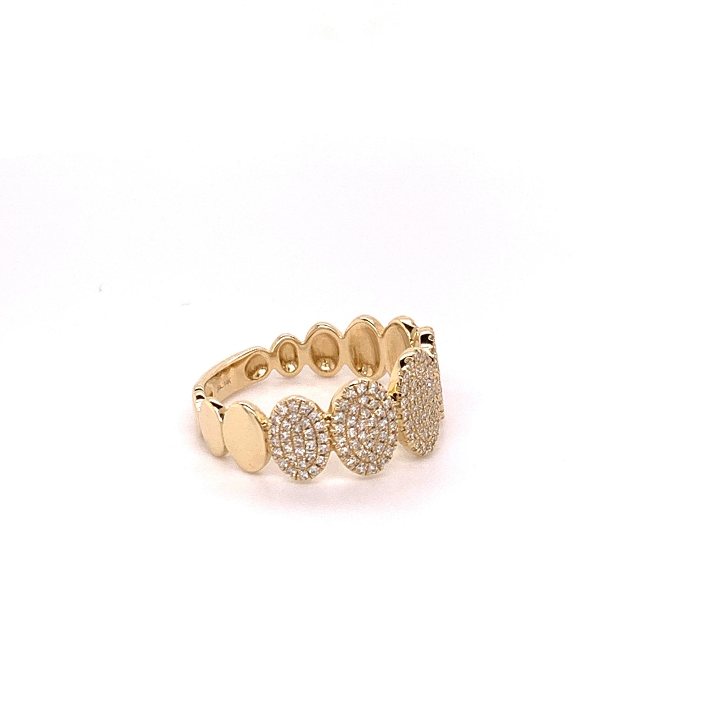 14K Yellow Gold Oval Diamond Pave Ring