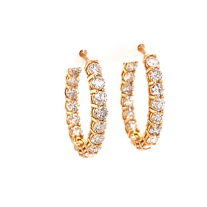 18K Rose Gold Oval Diamond Hoops 1 1/4""
