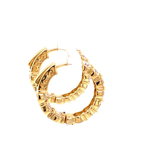 18K Yellow Gold Round Brilliant Diamond Hoops
