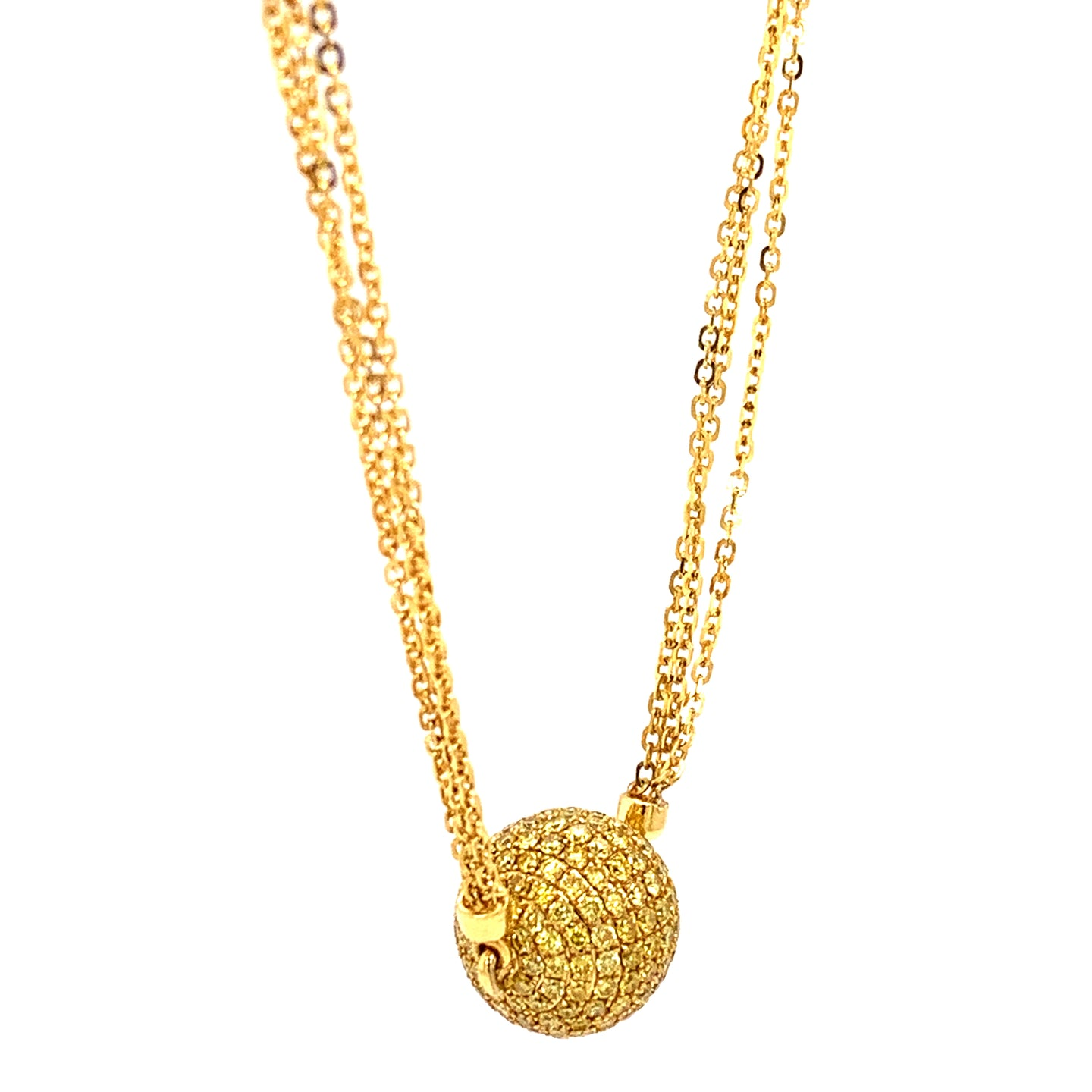 18K Yellow Gold Pave Diamond Necklace