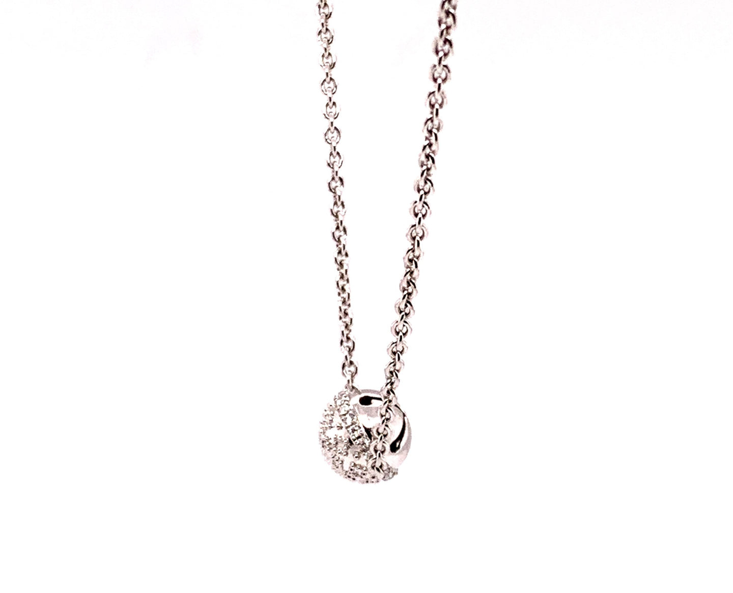 14K White Gold Diamond Bell Necklace