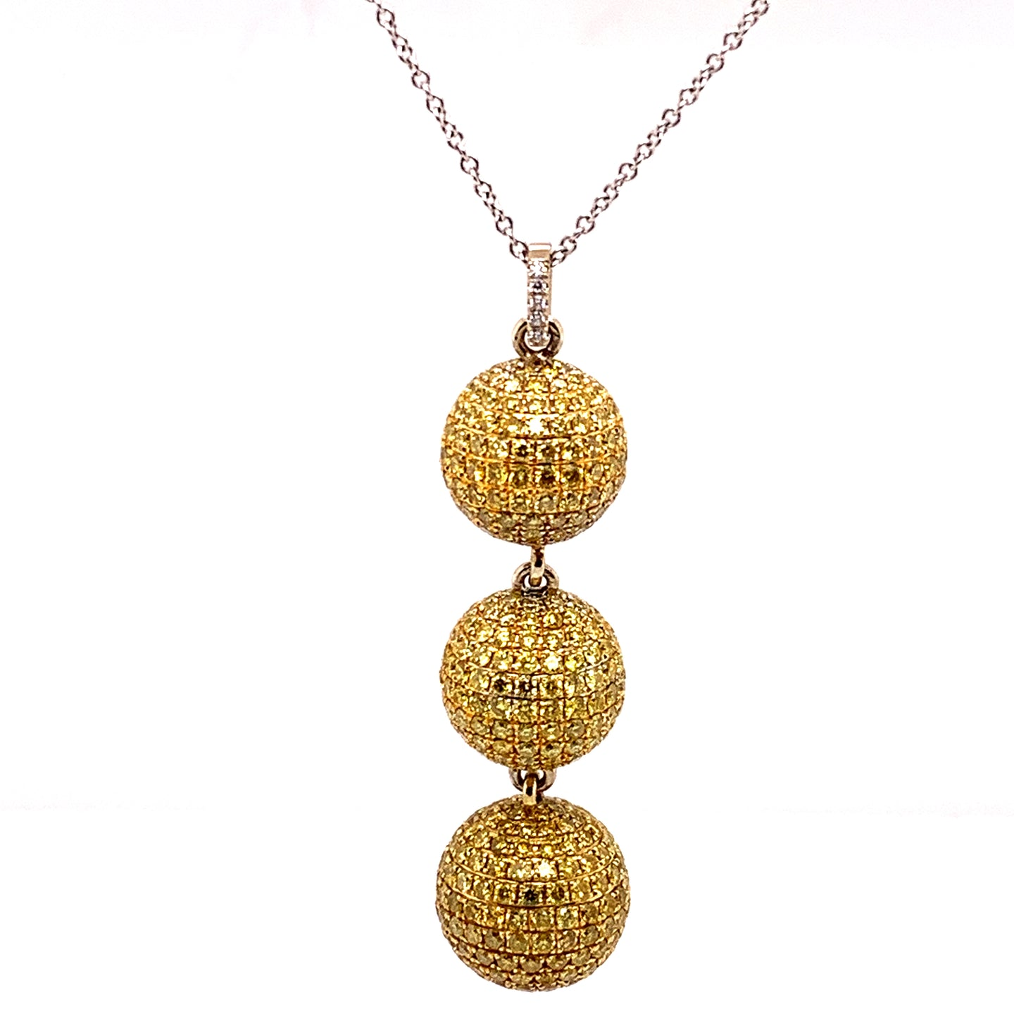 18K Yellow and White Gold Yellow Pave Diamond Necklace
