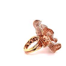 Load image into Gallery viewer, 18K Rose Gold Pave Diamond Flower Ring and Brooch