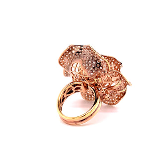 18K Rose Gold Pave Diamond Flower Ring and Brooch