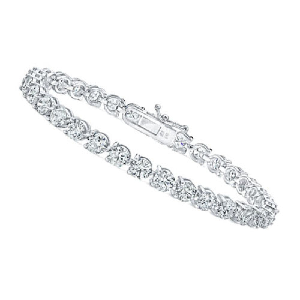 18K White Gold Round Brilliant Diamonds Tennis Bracelet
