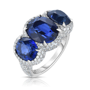 Platinum 3-Stone Sapphire and  Diamond Ring