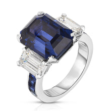 Load image into Gallery viewer, Platinum Emerald Cut Sapphire and Diamond Ring
