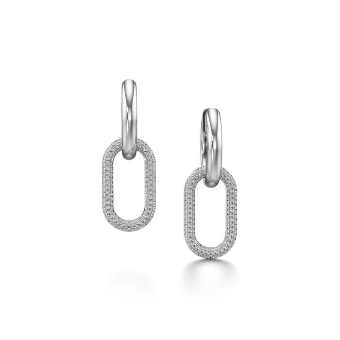 White Gold and Diamond Pave Link Earrings