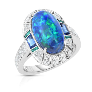 Platinum Opal, Sapphire, Diamond, and Emerald Ring