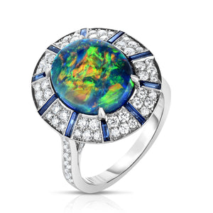 Platinum Opal, Baguette Sapphire, and Diamond Ring