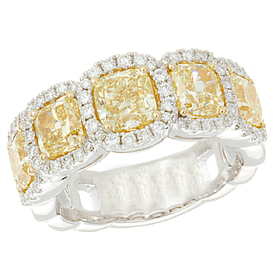 Fancy Vivid Yellow Two Tone Diamond Ring