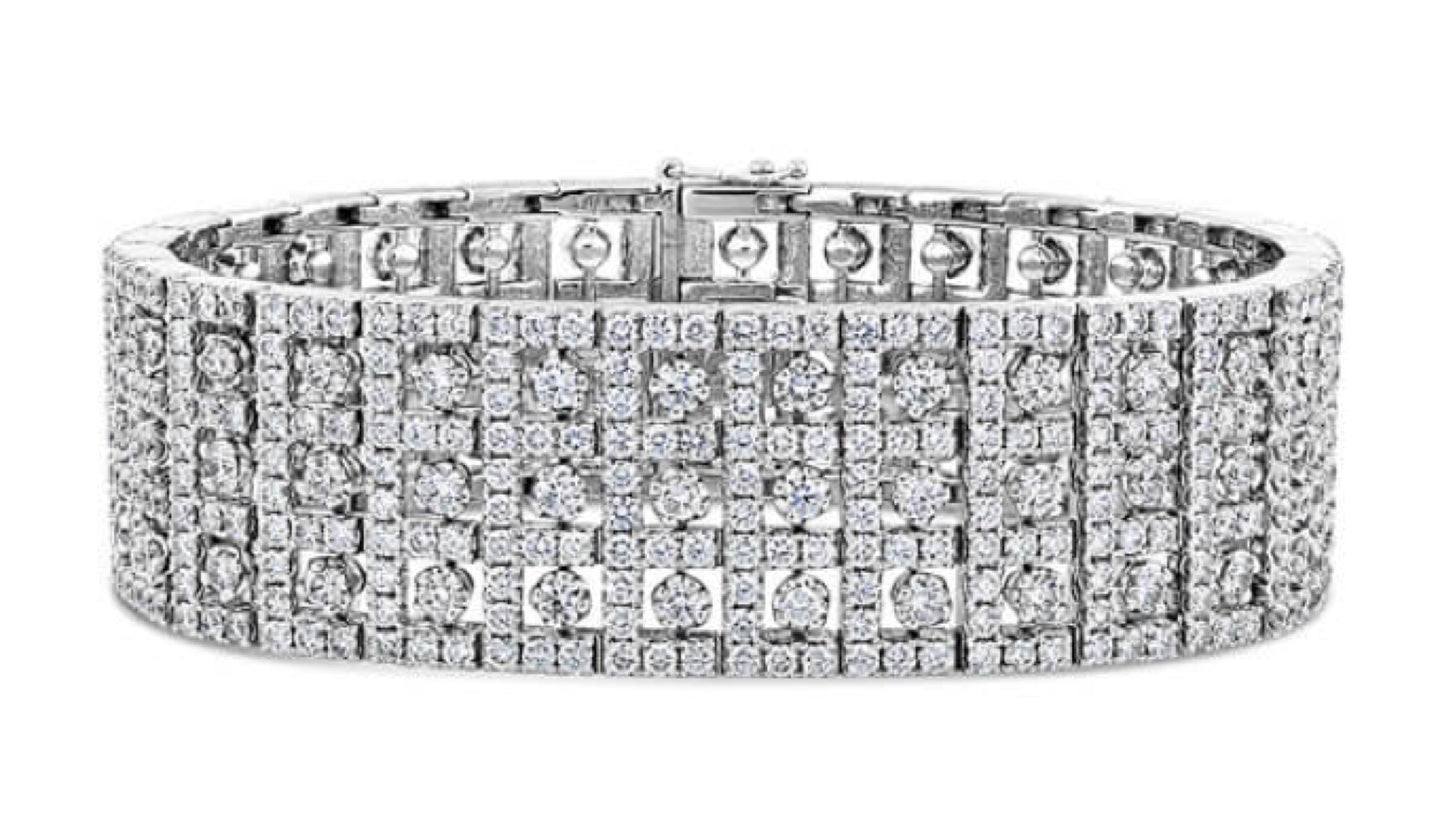 18K White Gold Multi- Row Diamond Bracelet