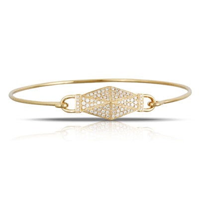 18K Yellow Gold Deco Pave Diamond Bangle