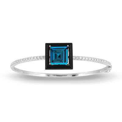 London Blue Topaz and Onyx Bangle