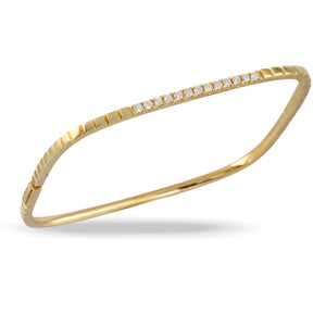 18K Yellow Gold Diamond Fashion Bangle
