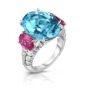 Platinum 3-Stone Paraiba Tourmaline, Pink Spinel and Diamond Ring