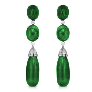 Platinum Drop Emerald and Diamond Earrings