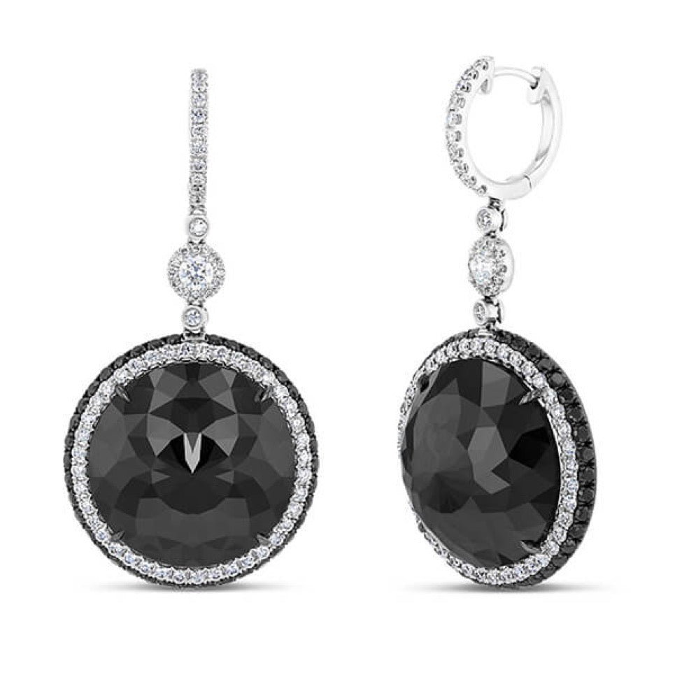 18K White Gold Black Diamond Drop Earrings