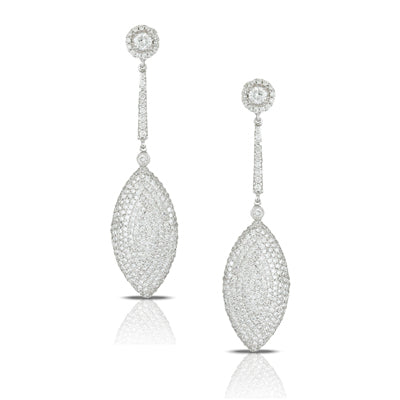 18K White Gold Pave Diamond Drop Earrings