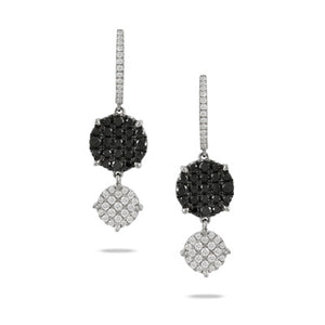 18k White Gold White and Black Diamond Earrings